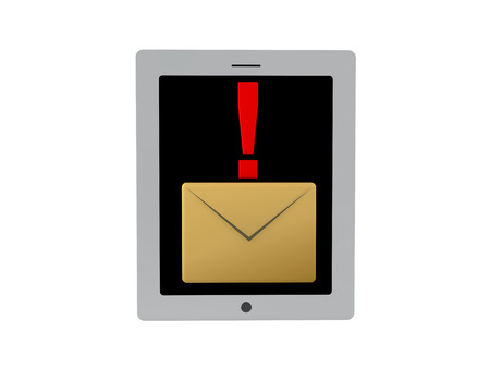 know: 3D illustration of mail notification icon on tablet screen or phone. Isolated on white. Stock Photo