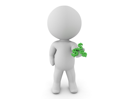 give: 3D Character extending his hand out with dollar symbols in his palm. Isolated on white.