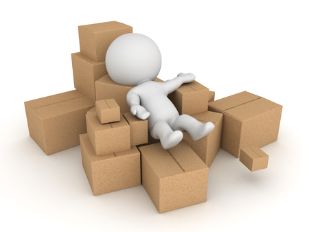 3D Character thrown into pile of cardboard boxes. Isolated on white. Stock Photo