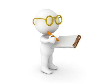 3D Character dressed as researcher writing on notepad. Isolated on white.