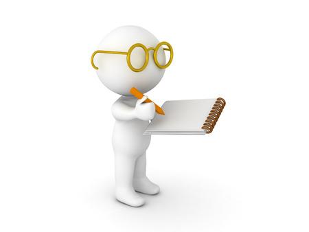 3D-karakter gekleed als onderzoeker schrijven op notitieblok. Geïsoleerd op wit. Stockfoto - 80713988