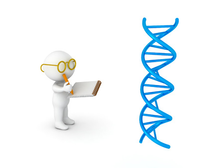 3D illustration of scientist taking notes from DNA double helix research. Image relating to genetic medical research.