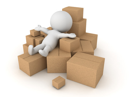 3D Character thrown into a pile of different boxes. Isolated on white. Stock Photo