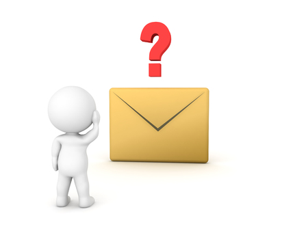 3D Character looking at e-mail icon with question mark above it. Isolated on white.