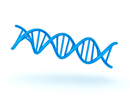 relating: 3D illustration of teal shiny double helix DNA symbol. Image relating to genetic medical research.