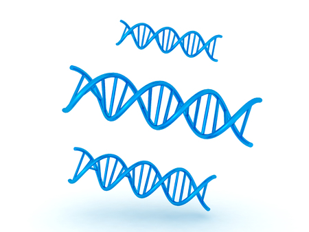 relating: 3D illustration of three DNA double helix symbols. Image relating to genetic medical research.