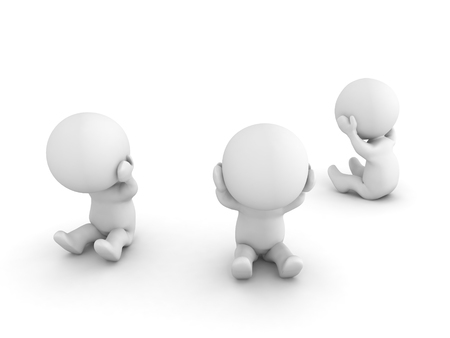 Group of 3D Characters being sad and depressed. Image relating to mental health and depression.