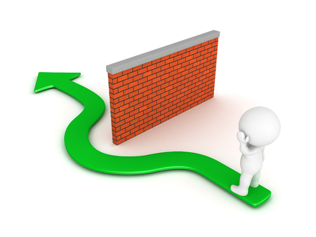 3D-karakter denken over hoe om obstakel te omzeilen, barrière afgebeeld als een bakstenen muur. Geïsoleerd op wit.