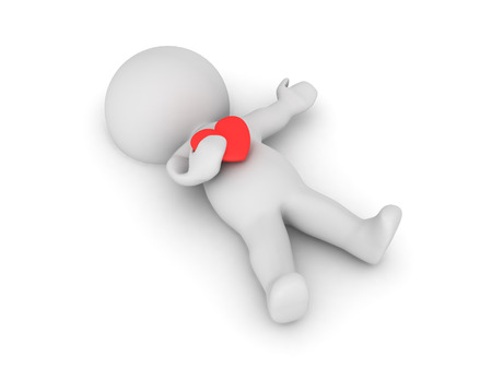 3D Character lying on the floor clutching a red heart. Image can depict a heart attack.