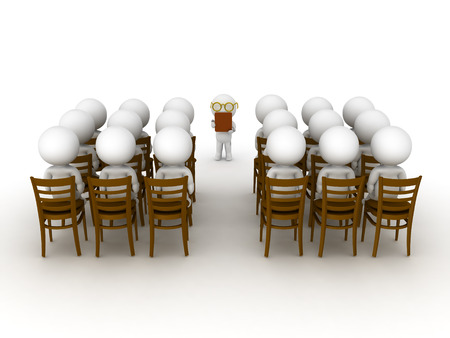 attending: 3D Characters attending a course or class or lecture. They are sitting on chairs and in front there is a trainer or teacher.  Stock Photo