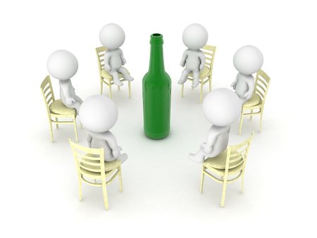 3D illustration of alcoholics anonymus twelve step program meeting. Isolated on white.