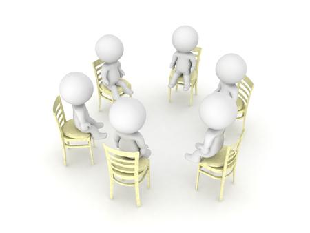 struggle: 3D illustration of twelve step self help group. Isolated on white. Stock Photo