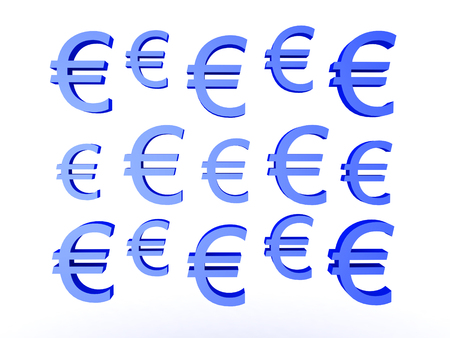 trade union: 3D illustration of many blue euro currency symbols. Isolated on white.