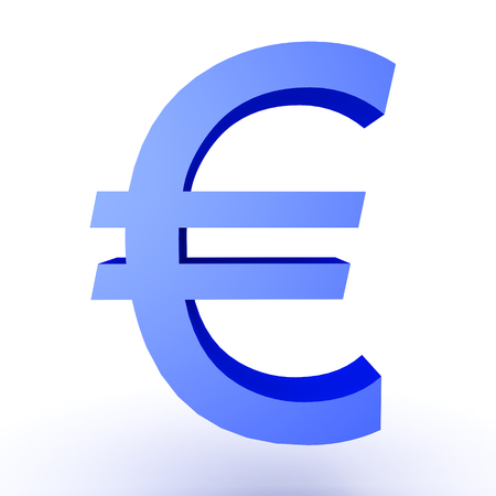 trade union: 3D Illustration of blue euro currency symbol. Isolated on white.