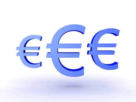trade union: 3D Illustration of three blue euro currency symbols. Isolated on white.