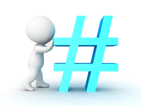 3D Character pushing blue hashtag or pound sign. Isolated on white. Stock Photo