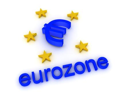 3D illustration of euro zone logo. Isolated on white.