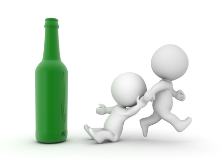 3D illustration of intervention for alcoholic. Isolated on white.