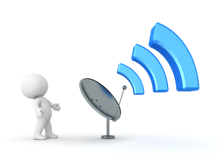 3D illustration of antenna emitting wi-fi signal. Isolated on white.