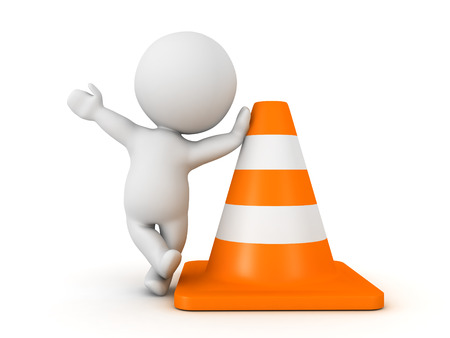 3D Character waving and leaning on orange traffic cone. Isolated on white.
