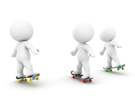 3D Characters riding on skateboards. Isolated on white.
