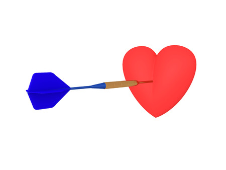 3D illustration of a heart being hit by a dart. Isolated on white. Stock Photo