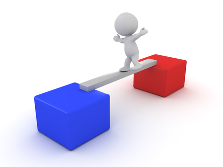 3D Character losing his balance while crossing from a red box to a blue box.Isolated on white.