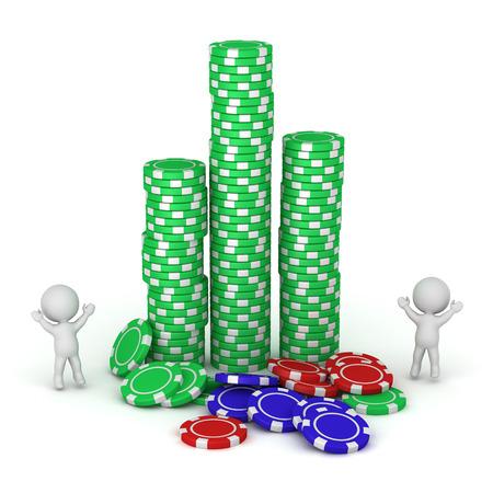 3D-personages en stapels pokerchips. Geïsoleerd op witte achtergrond Stockfoto