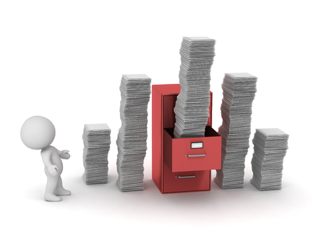 3D character with a file cabinet and many stacks of papers. Isolated on white background.