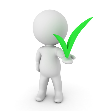 3D Character holding in his hand a green check mark. Isolated on white. Stock Photo