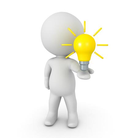 Charakter 3D, der glühende helle gelbe Glühlampe in seiner Hand hält. Isoliert auf weiss.