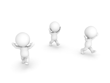 commotion: Three 3D Characters running away with their arms raised and panicking. Isolated on white.