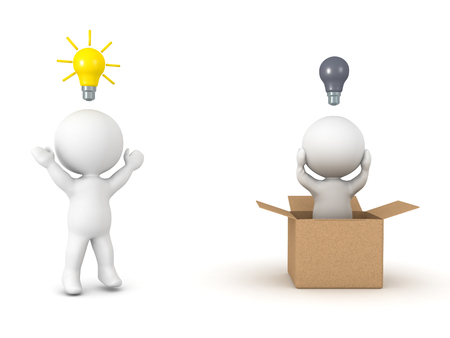 3D illustration depicting the concept of thinking outside the box. Isolated on white. Stock Illustration - 82324673
