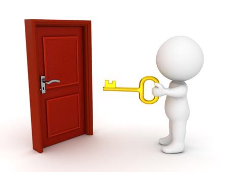 Carattere 3D che tiene una chiave d'oro davanti a una porta chiusa. Isolato su bianco