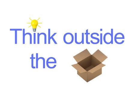 3 D イラストレーションと思う箱の外 acutal ボックスとテキストが表示します。 白で隔離。バージョン 2 です。