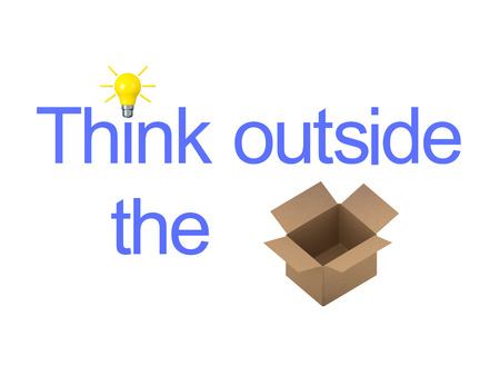3D illustration showing the text Think Outside The Box with an acutal box.  Isolated on white. Version two.