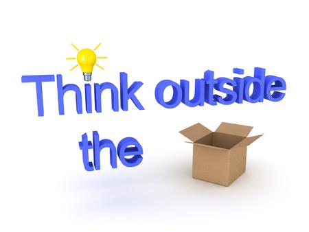 テキストを示す 3 D 図は、word ボックスを取り付け、運行で outisde のボックスを考えます。白で隔離。 写真素材