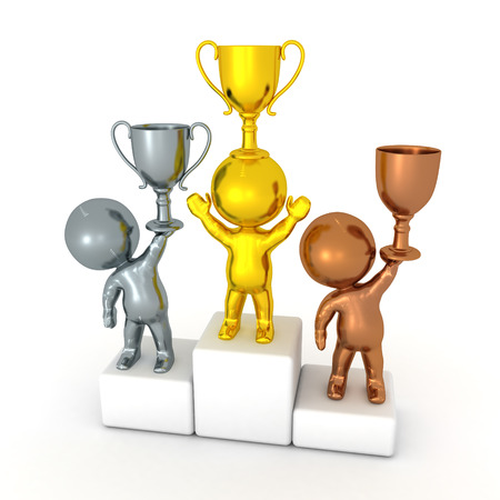 3D illustration of a competition podium with gold, silver and bronze winners. Isolated on white.