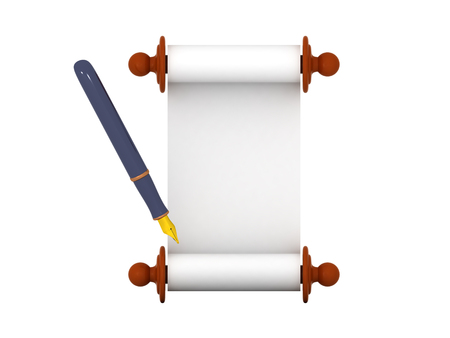 3D illustration of a scroll and a blue fountain pen. Isolated on white.