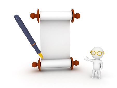 3D Character wearing glasses showing scroll parchment and fountain pen. Isolated on white.