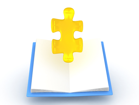 3D illustration of golden puzzle piece rising out of opened book. Isolated on white. Stock Photo