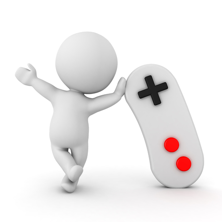 3D Character waving and leaning on video game controller. Isolated on white.