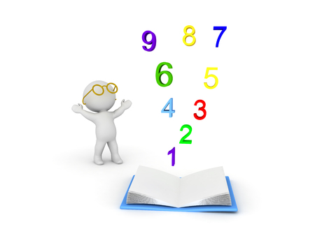 3D Character wearing glasses looking up at numbers rising from an opened book. Isolated on white. Stock Photo