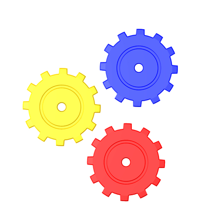 3D illustration of three colored mechanical cogs. Isolated on white.