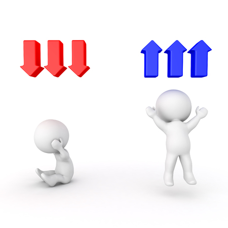 3D image of sad character with red down arrows and cheerful one with blue up arrows. Isolated on white. Stock Photo