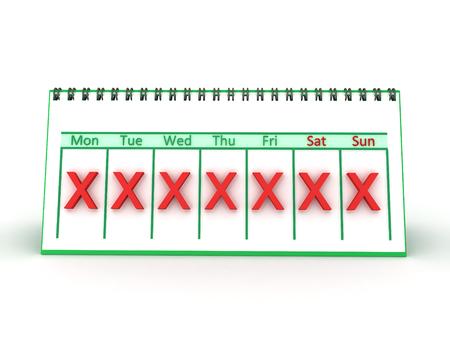 3D illustratie van een wekelijkse kalender met een rode X gemarkeerd op alle dagen. Geïsoleerd op wit. Stockfoto