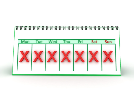 3D illustration of a weekly calendar with a red X marked on all days. Isolated on white.