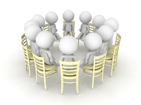 3D illustratie van twaalf stappen progam helpgroep. Er zijn twaalf kleine mensen die op stoelen in een cirkel zitten.