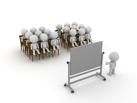 3D illustration of a group of people being at a class or course. Isolated on white. Stock Photo