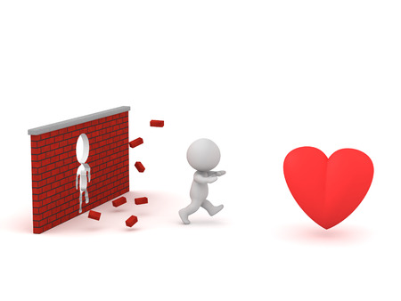 3D character breaking through a brick wall running toward a large red heart. Isolated on white background.